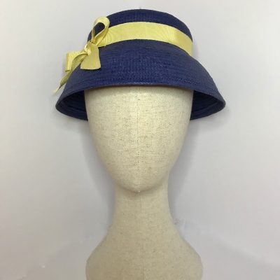 Joan – 1930s straw hat – in blue Toyo straw