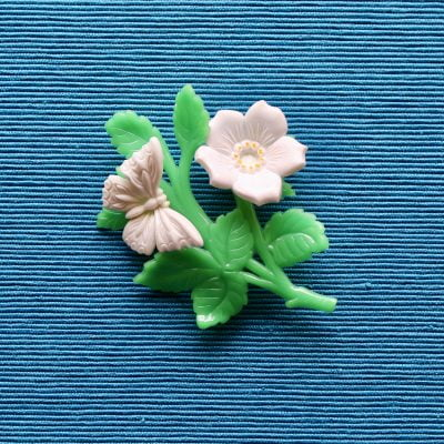 1950s Plastic Flower and Butterfly Brooch