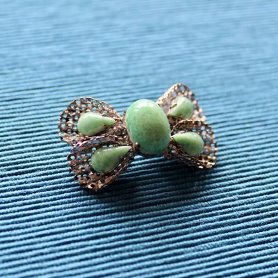 Silver Shapes Mesh Bow with Green Stones Brooch