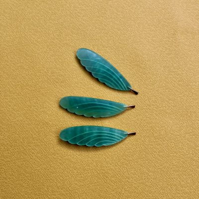 Nylon and Brass Feather Brooch – Green