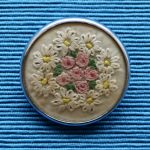 Silver Framed Embroidered Brooch of Daisies