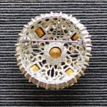 Large 1960s Pink and White Rhinestone Circular Silver Tone Brooch