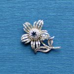 1956 Rhinestone Flower Brooch