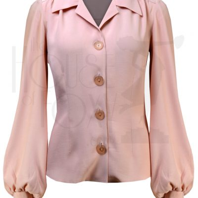 40s Long Sleeve Shirt Blouse – Blush Pink