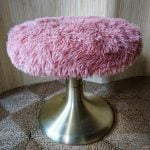 Vintage Gold Aluminium Tulip Dressing Table Furry Stool