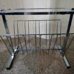 Vintage Chrome & Glass Coffee Side Table / Magazine Rack