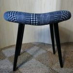 Vintage Curved Dressing Table Piano Stool Black Legs Navy & White