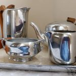 5 PIECE PIQUOT TEA SET 1950/60'S INCLUDING ORIGINAL TRAY