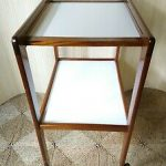 Vintage White Formica and Teak Cocktail Drinks Trolley
