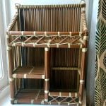 Boho wicker shelving unit