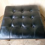 Vintage Large Teak Danish Foot Stool Original Black Vinyl