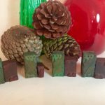 A Set of 4 Vintage Wooden Holly and Berry Wooden Printing Blocks