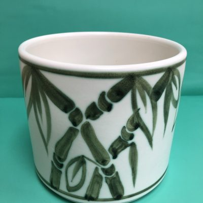 Large Vintage Bamboo Patterned Ceramic Planter