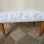 Vintage Footstool Pouffe Cable Knit Cream Wool