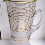 Large retro striped glass jug