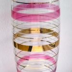 Retro striped tall glass vase