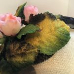 Velvet headband with vintage velvet leaves (green/rosebud)