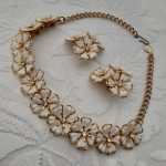 Pretty 1950s Flower Shaped Necklace and Earrings Set, with Rhinestones, Original Vintage Mid Century