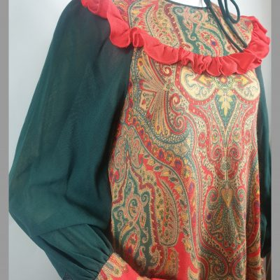 1970s Emma Somerset Green & Coral pure wool paisley smock midi dress