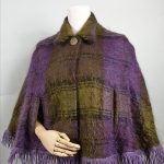 1960s Andrew Stewart Mauve & Green Mohair Wool Cape