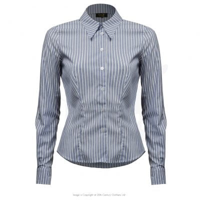 Spearpoint Collar Shirt – Blue Stripe