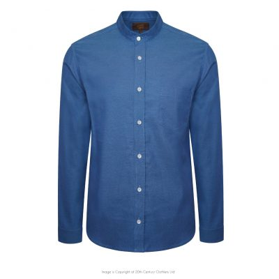 Tommys Collarless Shirt – Mid Blue