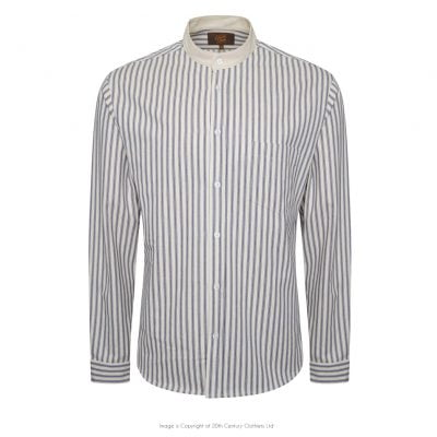 Tommys Collarless Shirt – Blue Ticking