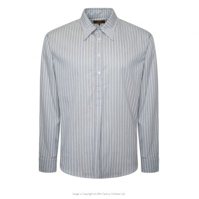 Spear Collar Half Button Shirt – Blue Stripe