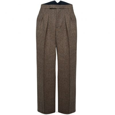 Fishtail Back Trousers – Brown Herringbone