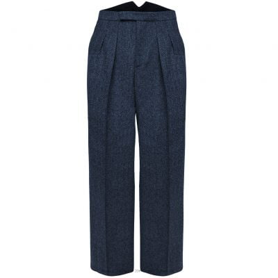 Fishtail Back Trousers – Navy Herringbone