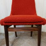 Vintage Set of 4 Teak Dining Chairs Rust Orange Boucle