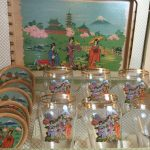 Vintage Boxed Set of Glasses, Coasters and Tray