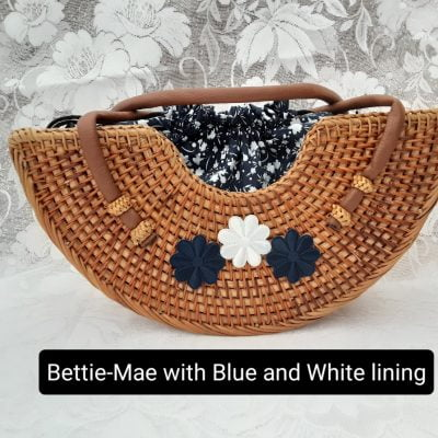 New Vintage Inspired Rattan Handbag, Bettie-Mae 1950s / 1960s Style Tiki Bag