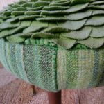 Vintage Retro Sherborne ? Pouffe Dressing Table Stool Green Wool
