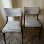 Vintage Pair of Ben Dining Office Chairs Striped Linen