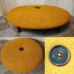 Vintage Giant Low Button Pouffe Footstool Mustard Yellow Boucle