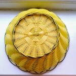 Retro Yellow Woven Plastic Fruit Bowl