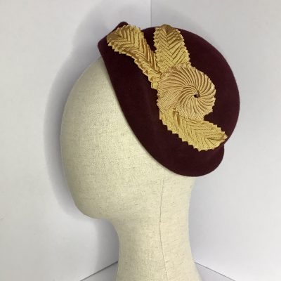 Beau – a 1950s capulet in wine wool felt with ribbon work