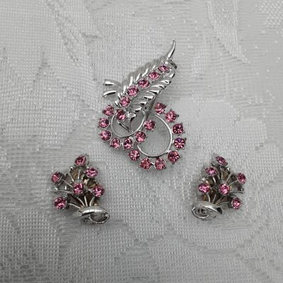 1950s Pink Rhinestones and Silver Tone Metal Brooch and Earrings Set, Original, Vintage, Mid Century 50s