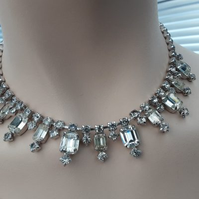 1950s Rhinestone Necklace, White and Jonquil coloured stones, Mid Century, Original Vintage 50s