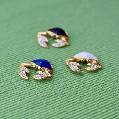 Blue Black and Gold Crab Lapel Pins
