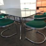 1970s Smoked Glass Table and 4 Chrome Chairs