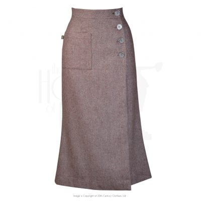 1930s Faux Wrap Skirt – wool blend