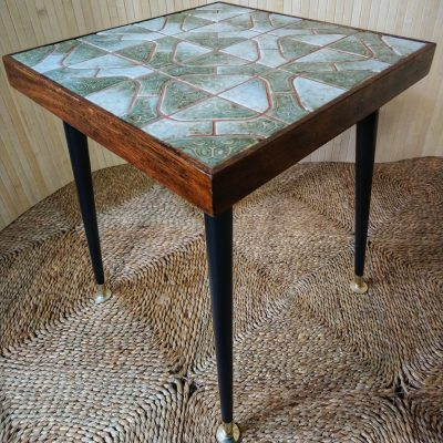 Vintage Green & Blue Tiled Coffee Side Table w Dansette Legs