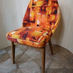 Vintage Ben Chairs Dining Office Chair Orange Barkcloth