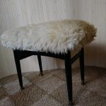 Vintage C.W.S. Dressing Table Stool Real Sheepskin