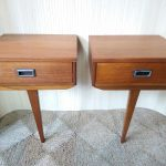 Pair of Vintage Teak Wall Hung Bedside Cabinets Tables