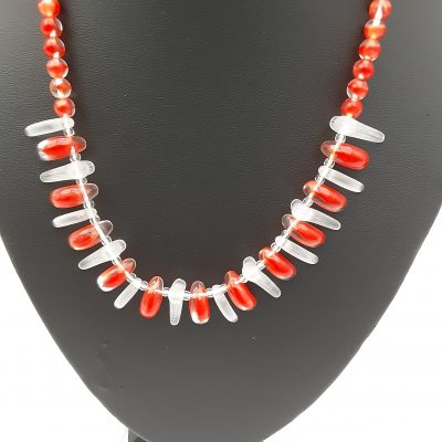 1950s Faux Coral Vintage Novelty Glass Necklace, Original Vintage, Mid Century