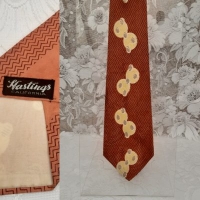 Burnt Orange coloured 1940s to early 1950s Gents Swing Tie, Original Vintage, Mid Century, Abstract Pattern