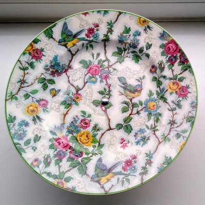 Vintage Midwinter Chintz Flowers & Birds Cake Stand